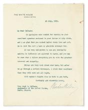 WILSON, WOODROW. Typed Letter Signed, as President, to U.S. Ambassador to France Hugh C. Wallace,
