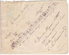 CHAMINADE, CÉCILE. Autograph Musical Quotation Signed and Inscribed,