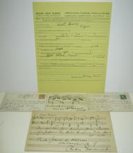 (COMPOSERS--AMERICAN.) Group of 5 items Signed, or Signed and Inscribed.