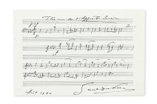 DUKAS, PAUL. Autograph Musical Quotation dated and Signed, 23 bars from his The Sorcerer's Apprentice,