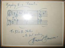 HANSON, HOWARD. Autograph Musical Quotation Signed,