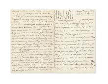(WAGNER, RICHARD.) WAGNER, COSIMA. Autograph Letter Signed, to Elisabeth [lacking salutation], giving news of events surrounding her re
