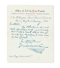 DICKENS, CHARLES. Autograph Letter Signed,