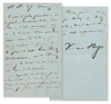 HUGO, VICTOR. Autograph Letter Signed, to an unnamed recipient (