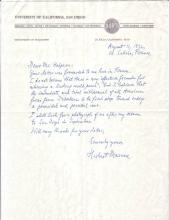 MARCUSE, HERBERT. Autograph Letter Signed, to Representative Seymour Halpern,