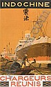 POSTER: SANDY HOOK (GEORGES TABOUREAU, 1879-1960) INDOCHINE / CHARGEURS REUNIS. 39x25 inches. Heliochromie-Sadag, Paris., Sandy Hook, Click for value