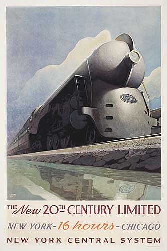 POSTER: LESLIE RAGAN (1897-1972) THE NEW 20TH CENTURY LIMITED. 1938. 41x27 inches. Latham Litho Co., Long Island City, N.Y.