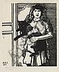 JEAN-ÉMILE LABOUREUR La Gosse aux Cheveux Rouges (Petite Fille au Chat Noir).