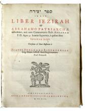 KABBALAH.  Sefer Yetsira; id est, Liber Iezirah.  1642.  Lacks the errata leaf.