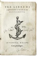 MANUZIO, PAOLO. Tre Libri di Lettere Volgari.  1556