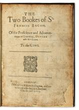 BACON, FRANCIS, Sir.  The Twoo Bookes . . . of the Proficiencie and Advancement of Learning, Divine and Humane.  1629