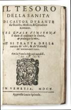 DURANTE, CASTORE. Il Tesoro della Sanità.  1605