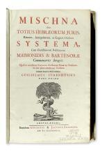 MISHNA.  Mischna; sive, Totius Hebraeorum juris: rituum, antiquitatum, ac legum oralium systema.  6 vols in 3.  1698-1703