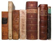 PHARMACY, MATERIA MEDIA, THERAPEUTICS.  Group of 8 vols. 1619-1794