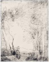 JEAN-BAPTISTE-CAMILLE COROT Jeune Mère à l'Entrée d'un Bois.