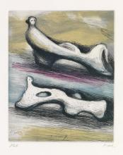 HENRY MOORE Two Reclining Figures.