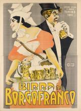 DESIGNER UNKNOWN. BIRRA DI BORGOFRANCO. Circa 1911. 53x39 inches, 134x99 cm. De-Tobacco, Biella.