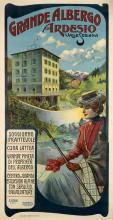DESIGNER UNKNOWN. GRANDE ALBERGO ARDESIO. Circa 1900. 76x39 inches, 195x99 cm. Arti Grafiche, Bergamo.
