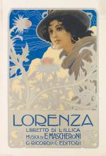 DESIGNER UNKNOWN. LORENZA. Circa 1899. 27x19 inches, 70x48 cm. G. Ricordi & C., Milan.