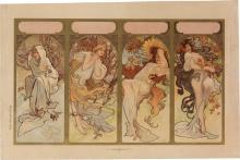 ALPHONSE MUCHA (1860-1939). [THE SEASONS.] Circa 1897. 17x26 inches, 44x68 cm.