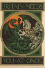 DESIGNER UNKNOWN. BRITAIN NEEDS YOU AT ONCE. 1915. 30x19 inches, 76x50 cm. Spottiswoode & Co. Ltd., London.