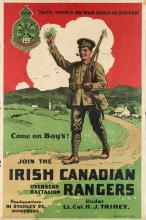 DESIGNER UNKNOWN. JOIN THE IRISH CANADIAN RANGERS. 41x27 inches, 105x70 cm. Montreal Litho. Company, Montreal.