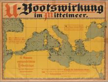 DESIGNER UNKNOWN. U - BOOTWIRKUNG IM MITTELMEER. 1917. 25x33 inches, 64x85 cm. Admiralstab der Marine.