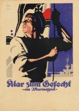 LUDWIG HOHLWEIN (1874-1949). KLAR ZUM GEFECHT. Circa 1915. 25x17 inches, 63x45 cm. Fritz Maison, Munich.