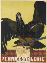 HEINRICH LEFLER (1863-1919). ZEICHNET / 4. KRIEGSANLEIHE. 1916. 46x35 inches, 118x89 cm. J. Weiner, Vienna.