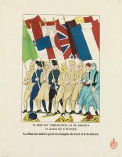 RAOUL DUFY (1877-1953). LES NATIONS ALLIÉES POUR LE TRIOMPHE DU DROIT ET DE LA LIBERTÉ. Colored woodcut. 1917. 22x17 inches, 56x44 cm.