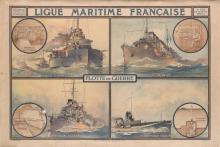 ALBERT SÉBILLE (1874-1953). LIGUE MARITIME FRANÇAISE / FLOTTE DE GUERRE. 29x42 inches, 74x108 cm. La Lithographie Parisienne, Paris.