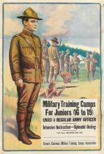 DESIGNER UNKNOWN. MILITARY TRAINING CAMPS FOR JUNIORS. 40x27 inches, 103x70 cm. The Otis Lithograph Co., Cleveland.