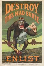 H.R. HOPPS (1869-1937). DESTROY THIS MAD BRUTE / ENLIST. Circa 1917. 42x28 inches, 106x71 cm.