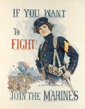 HOWARD CHANDLER CHRISTY (1873-1952). IF YOU WANT TO FIGHT! / JOIN THE MARINES. 1915. 40x30 inches, 101x76 cm.
