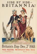 JAMES MONTGOMERY FLAGG (1870-1960). SIDE BY SIDE - BRITANNIA! / BRITAIN'S DAY. 1918. 30x20 inches, 76x51 cm. American Lithographic Co.