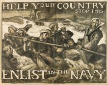 FRANK BRANGWYN (1867-1956). HELP YOUR COUNTRY STOP THIS / ENLIST IN THE NAVY. Circa 1917. 62x78 inches, 157x199 cm. American Lithograph