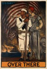 ALBERT STERNER (1863-1946). U.S. NAVY / OVER THERE. 1917. 59x40 inches, 150x102 cm. American Lithographic Co., New York.