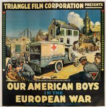 DESIGNER UNKNOWN. OUR AMERICAN BOYS IN THE EUROPEAN WAR. 1916. 80x80 inches, 203x205 cm.