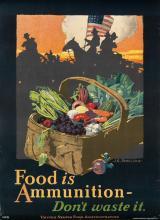 JOHN E. SHERIDAN (1880-1948). FOOD IS AMMUNITION. Circa 1918. 29x21 inches, 73x53 cm. Heywood Strasser & Voigt Litho. Co., New York.