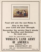 DESIGNER UNKNOWN. WOMAN'S LAND ARMY OF AMERICA / FOOD WILL WIN THE WAR - RAISE IT. Circa 1917. 28x22 inches, 72x56 cm.