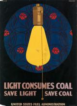 CLARENCE COLES PHILLIPS (1880-1927). LIGHT CONSUMES COAL. Circa 1918. 28x20 inches, 71x52 cm. Edwards & Deutsch Litho Co. Chicago.