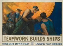 WILLIAM DODGE STEVENS (1870-1942). TEAMWORK BUILDS SHIPS. Circa 1918. 35x48 inches, 89x123 cm. Forbes, Boston.