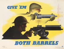 JEAN CARLU (1900-1997). GIVE 'EM BOTH BARRELS. 1941. 30x39 inches, 76x101 cm. U.S. Government Printing Office, [Washington D.C.]