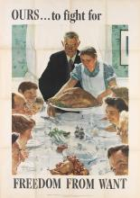 NORMAN ROCKWELL (1894-1978). [THE FOUR FREEDOMS.] Group of 4 posters. 1943. Each 55x39 inches, 141x100 cm. U.S. Government Printing Off