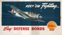 DESIGNER UNKNOWN. SHELL / KEEP 'EM FIGHTING . . . / BUY DEFENSE BONDS. 33x58 inches, 85x148 cm.