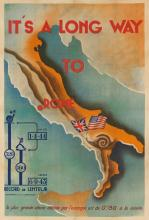 DESIGNER UNKNOWN. IT'S A LONG WAY TO ROME. Circa 1943. 46x31 inches, 116x79 cm.