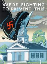 DESIGNER UNKNOWN. WE'RE FIGHTING TO PREVENT THIS. Circa 1943. 27x20 inches, 68x50 cm. Kelly-Read & Co, Rochester.