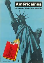 DESIGNER UNKNOWN. AMÉRICAINES / DIE BESTEN MARYLAND CIGARETTEN. Circa 1950. 50x35 inches, 127x90 cm. Lithographie & Cartonnage, Zurich.