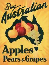 DESIGNER UNKNOWN. BUY AUSTRALIAN APPLES PEARS & GRAPES. Circa 1935. 20x15 inches, 51x38 cm.
