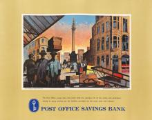 VARIOUS ARTISTS. POST OFFICE SAVINGS BANK. Group of 5 posters. Each approximately 33x43 inches, 85x109 cm.